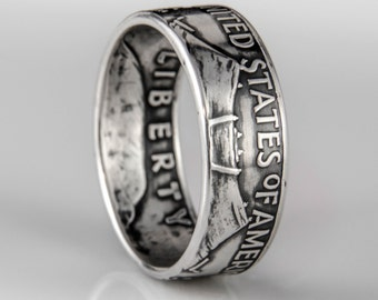 Franklin Half Dollar (Tails Out) - Coin Ring - Silver (.900)