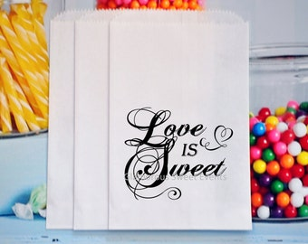 Personalized Wedding Favor Bags, Love Is Sweet Favor Bags, Popcorn Bags, Goody bags, Birthday Party Bags, Candy Table Treat Bags