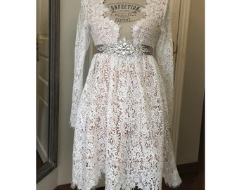 Short Wedding Dress boho beach country ceremony Bridal gown Lace long sleeve
