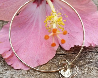 Floating Open Heart & Stamped Heart Bangle- heart bangle, beach bangles, bangles, ocean inspired, boho beach, organic, hawaii