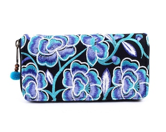 Blue Flowers Wallet Clutch Embroidered Fabric Handmade Thailand (BG800W-62C6)