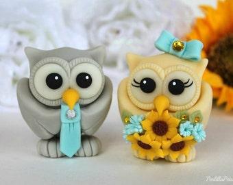 Owl love bird wedding cake topper, cream and grey owls, turquoise wedding, sunflower bouquet