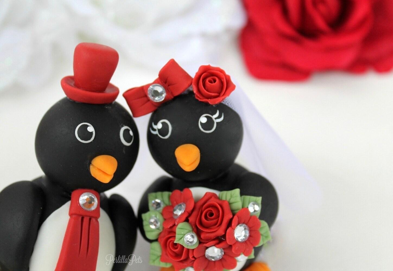 Wedding Penguin Cake Topper Custom Cake Topper By Perlillapets