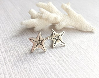 Silver Starfish Studs, Handmade Fine Silver Starfish Earrings, Sealife, Beach Jewelery,