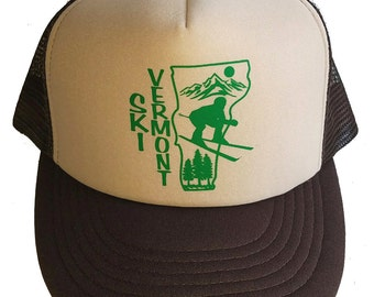 Ski Vermont  Snapback Mesh Trucker Hat Cap Brown Skiing