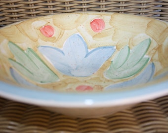 Bella Ceramics Bowl, Blue Tulips, Green Leaves, Blue Rimmed Bowl, White Dish, Straw Color, Red Circles