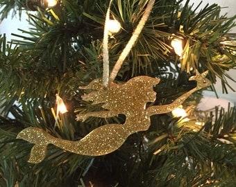 Mermaid Christmas Ornament, Coastal Christmas Ornament, Christmas Ornament Gift, Glitter ornament, Coastal Christmas, Beach Christmas