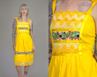 Vintage Mexican Embroidered Flowers Yellow Cotton Oaxacan Babydoll Festival Dress