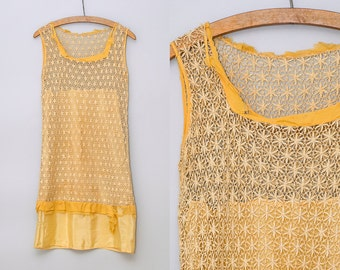 1920s Flapper Dress Canary Yellow Lace Crochet Knit Gatsby Dress / As Is Display