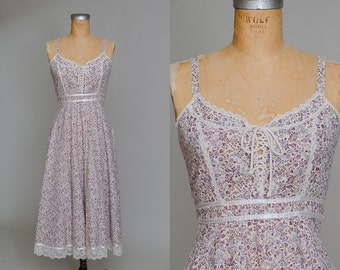 70s Gunne Sax Floral Corset Up Sleeveless Bohemian Prairie Dress