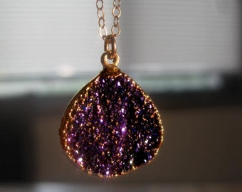 TITANIUM DRUZY Necklace - High Quality - 24k Gold Electroplated Edging - Purple Druzy - Geode - Mystic Choose Chain Length - Christmas Gift
