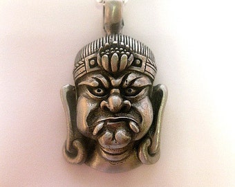Silver Aztec King Necklace - Statement Necklace - Pendant - Fun Jewelry