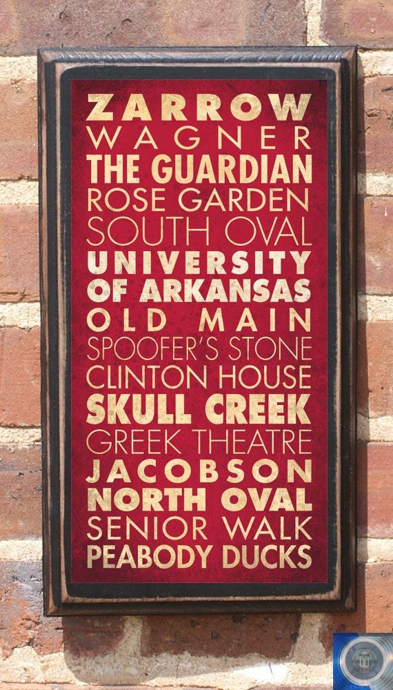 Arkansas Razorbacks Points of Interest Wall Art Sign Plaque