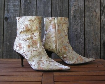 Vintage 90s fabric stiletto boots, size 36 (EUR), 6 (US), on sale