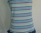 Medium Large Woman's Upcycled Tank Top Shirt Blue Lace Embroidered Faux Pearls.