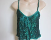 Vintage slip camisole cami teal green Victoria's Secret sexy lingerie  M