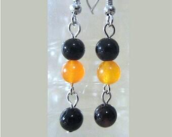 Orange Jade & Black Onyx Round Bead Dangling Earrings, Handmade Original Fall Fashion Jewelry, Demure Colorful Fun Halloween Earrings Gift