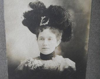 Large Mounted Photo - Victorian Fashion - Lady wearing Elaborate Hat