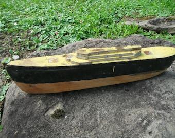 Vintage Hand Carved Wooden Boat - Folk Art Carving