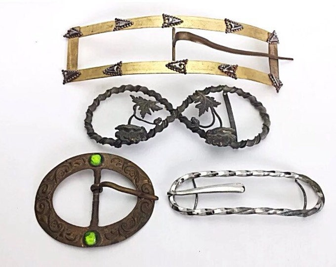 Large Victorian Buckles, Dress buckles. Sash Buckles. Antique Belt Buckles. French poured glass buckle. Rectangle, Ornate, Old Jewelry.