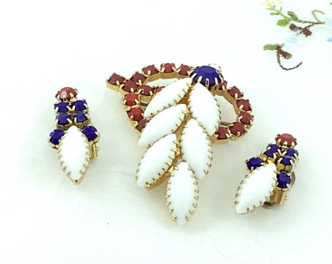 Fabulous Red, White & Blue Rhinestone Flower Brooch with earrings, Large Rhinestone Brooch, America. Wedding, Hi End Vintage. Patriotic