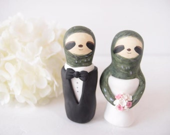 Custom Love Wedding Cake Toppers - Sloth with base