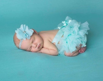 Baby Girl Ruffle Bottom Tutu Bloomer & Glitter Headband Set in Aqua - Newborn Photo - Cake Smash - Diaper Cover - Baby Gift - First Birthday