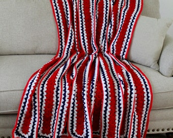 Afghan - Handmade Crochet Large Panel Blanket - Red White and Blue - Americana Afghan