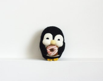 Needle Felted Penguin, Donut, Felt Toy, Pink, Candy, Sugar, Plush, Felt Animal, Penguin, Valentine's, Wool - Gus