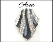 Vintage Avon Rhinestone & Black Enamel Pendant / Slide, Designer Nina Ricci, Black White Pendant, Black Silver Slide, Gift For Her