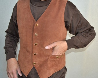 Vintage Authentic Gucci vest made in Italy 70s suede leather brown men's vest waistcoat size 50 Boho Hippie Hipster Biker Country
