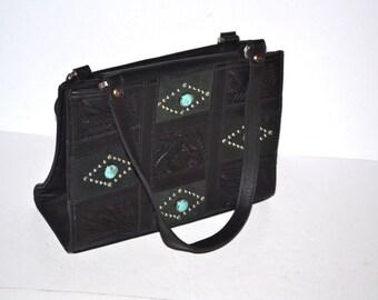Vintage handmade American West purse black tooled  leather  shoulder  bag organizer travel Back  school