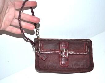 Vintage leather burgundy Coach wallet make up bag