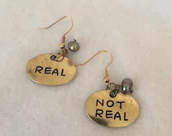 Mockingjay Inspired Earrings - Real - Not Real - Pearl - Shepherd Hook - Gold - Double Sided - Katniss - Peeta -Christmas in July - Graduate