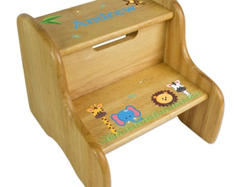 Custom Wood Step Stool for kids with Jungle Animal Theme Great for Safari Nursery Bathroom for Baby Girls, Boys & Toddlers FIXE-nat-224