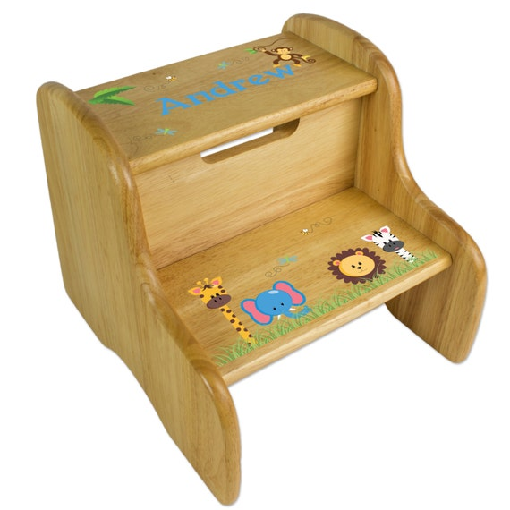 Custom Wood Step Stool For Kids With Jungle Animal Theme Great