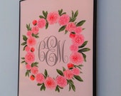 DIY Printable Pink Peony Custom Monogram 8x10 Print