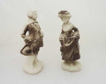 Vintage Man and Woman Salt and Pepper Shakers, Victorian Dressed Man and Woman Shakers