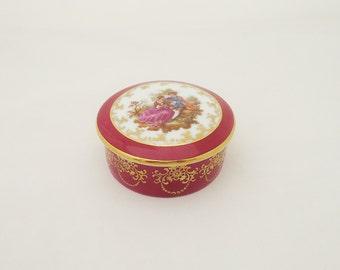 Vintage Limoges Trinket Box, Small Limoges Jewellery box, Burgundy Limoges Trinket Box