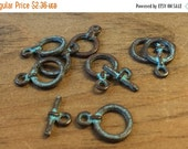 ON SALE Greek Mykonos Green Patina Toggle Clasp 18mm Qty 2