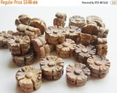 ON SALE Gemstone Bead Picture Jasper Hand Carved Flower 15mm QTY 6