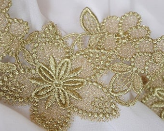 metiallic Gold lace trim with retro flowers, gold guipure lace trim