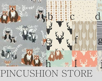 Hello Bear Collection Baby Blanket Baby Bedding Crib Nursery Sheets Woodland Deer Bear Fox Coral Mint Grey Brown Black
