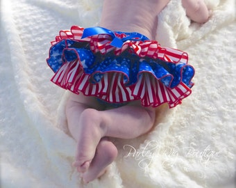 Parley Ray Pirate Red White and Blue 4th of July Stars Ruffled Diaper Cover/ Baby Bloomers/ Photo Prop