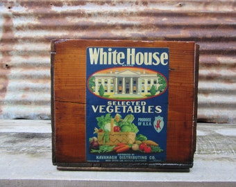 Antique Wood Crate Refinished White House Vegetables Paper Label Delivery Crate Los Angeles LA Wooden Storage Lacquered Wood Box Vintage