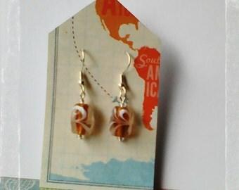 Caramel swirl dangle earrings, handmade dangle earrings, lampwork beads