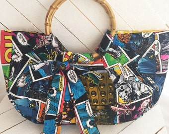 Comic, Who, Doctor, Police Box, Nerd, Geek, Rockabilly, Purse, Handbag, Bamboo, Bag, Pinup, Vintage Inspired