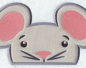 Peeking Mouse Applique Embroidered Patch, Sew or Iron on