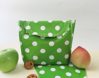 Mini Oilcloth bag Kids lunch bag Waterproof bag, small sandwich bag, washable baggie.