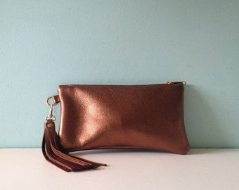 Bronze leather clutch bag, metallic zipped purse, make up bag, pencil case